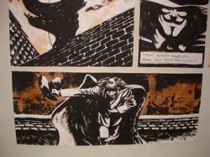 """Particolare di una tavola di """"V for Vendetta"""" capolavoro a fumetti di Alan Moore e David Lloyd."""