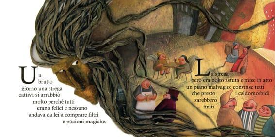 """Un'altra pagina del volume """"La fiaba dei caldomorbidi"""", anno 2009, su testi di Calude Steiner. Pere gentile concessione"""