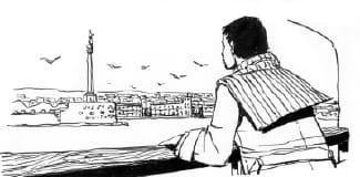messina dal traghetto. illustrazione pubblicata sulla rivista Mondo Naif. Per gentile concessione
