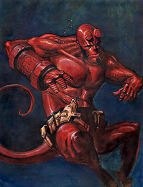 illustrazione dedicata ad hellboy, il demone-detective di M.Mignola.