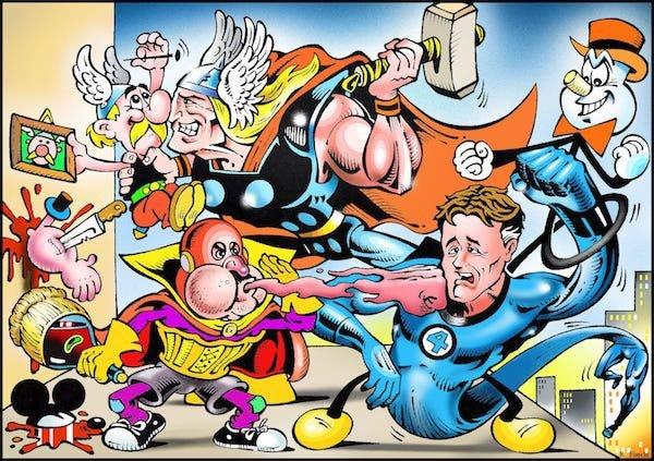 29_roberto fiaschi-oltrecomics:  Mr. Fantastic e Thor alle prese con Asterix, Tiramolla e Superciuk