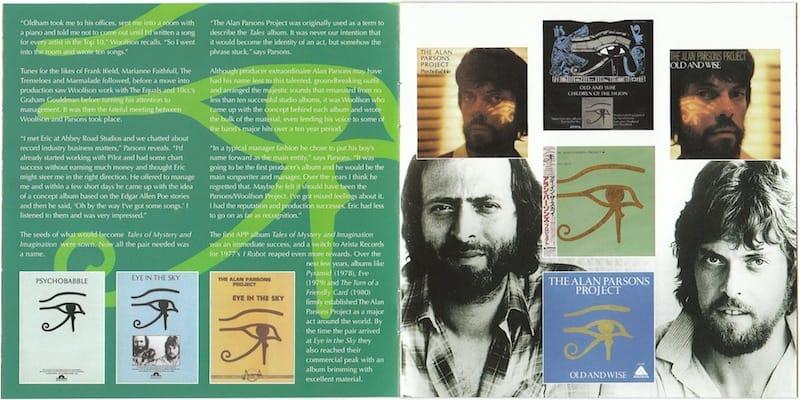 Due pagine interne  del fascicolo contenuto nel CD dell'album Eye in the Sky.
