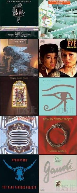 collage con le copertine degli otto album di Alan pAPrsons Project