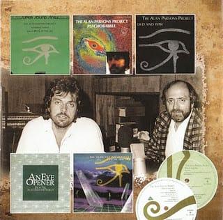 Foto del duo Alan Parsons e Eric Woolfson, con le copertine di alcune edizioni dell'album Eye and Sky.