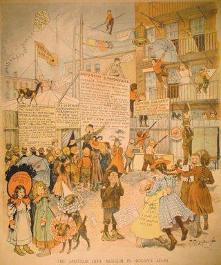 """4passi_01_1896-10-04. Questa tavola è stata caricata da questo sito : http://cartoons.osu.edu/yellowkid/1896/1896.htm; e si riferisce alla tavola pubblicata il 4 Ottobre 1896, """"The Amateur Dime Museum in Hogan's Alley"""", New York World ."""