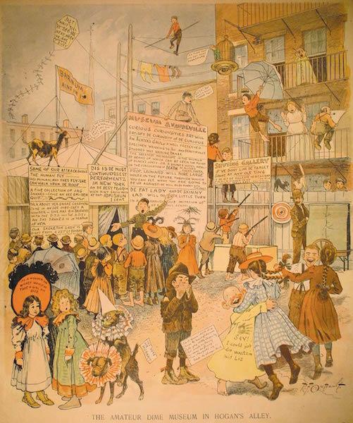 "tavola pubblicata il 4 Ottobre 1896, ""The Amateur Dime Museum in Hogan's Alley"", New York World"