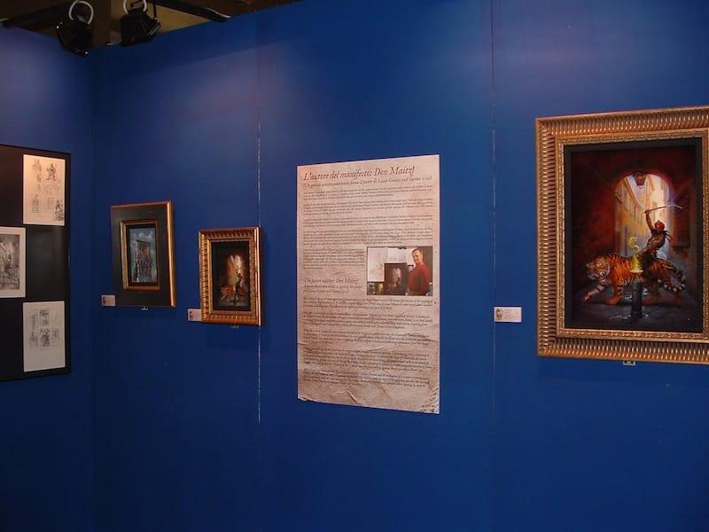 un angolo dell'ingresso alla mostra su Salgari con scritti e disegni preparatori del manifesto di Lucca 2011. © ma.Be.