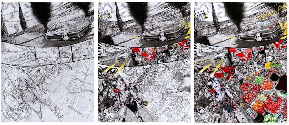 Tre fasi di lavorazione della pagina 33 di: Red Bella, volume 3.