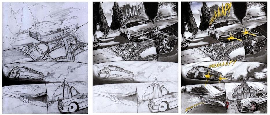 Tre fasi di lavorazione di una delle tavole di: Red Bella, volume 3.