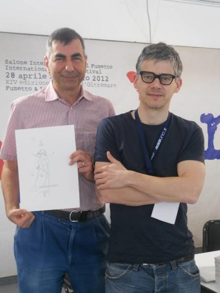 Comicon 2012 l'amicop Cesare Milella con Paolo Bacilieri