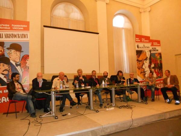 73 Incontro giornalismo e fumetti Rizzo, Castelli, Milani, Gorla, Stefanello, Gorla, De Poli, Giorello, Licari, Raffaelli