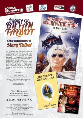 Locandina dell'incontro con Bryan Talbot alla Scuola del fumetto di Palermo