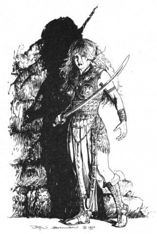 illustrazione di J. Bolton in B/N dedicata a Marada  (1991). Il suo primo disegno dall'Ass. culturale Fumettomania (1990-91)
