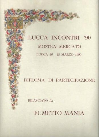 La pergamena-Diploma di partecipazione a Lucca Incontri '90 - Mostra mercato