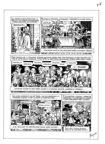 """12. Magnus: tavola dalla storia a fumetti """"Le damigelle dell'arcobaleno"""", da """"Lunario 1995"""" (© Eredi Raviola – edizioni Rizzoli Lizard)."""