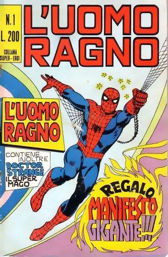 Copertina dell'Uomo Ragno n. 1 ed. Corno (aprile 1970)