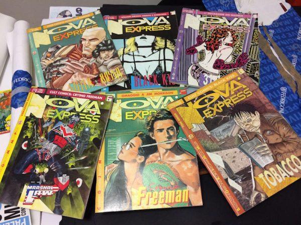 """Alcuni numeri della rivista Nova Express. La prima parte del secondo progetto chiamato """"Luigi Bernardi, da Nova Express ad Orient Express"""" (19 puntate)"""
