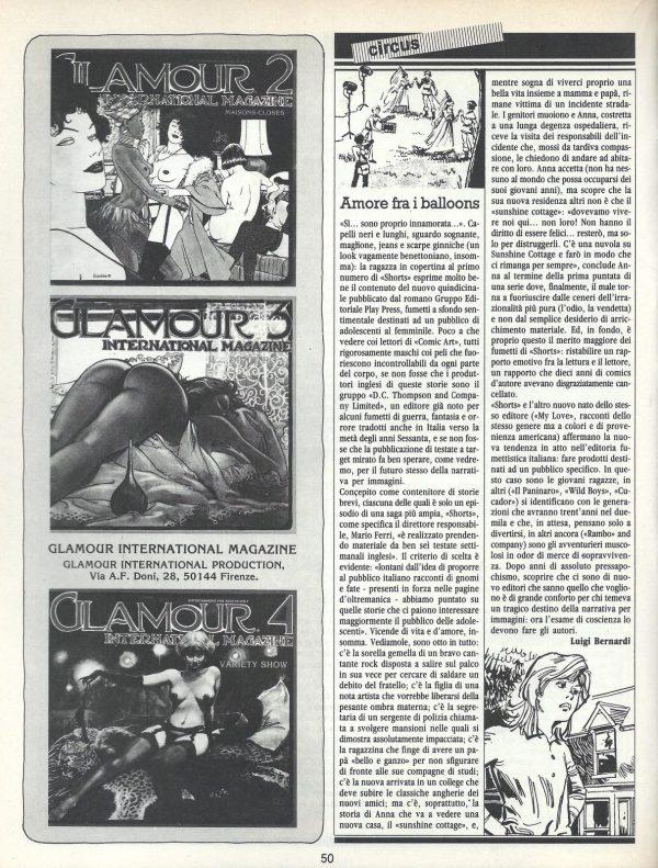 """Articolo """" AMORE FRA I BALLOONS"""" tratto dalla rivsita Comic Art n. 22"""