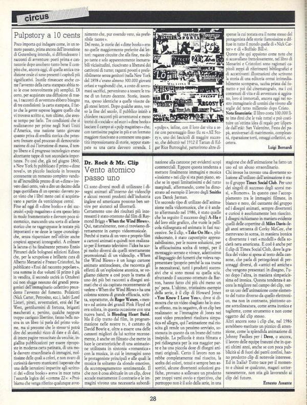 Articolo Pulpstory a 10 cents, tratto dalla rivista Comic Art n. 30
