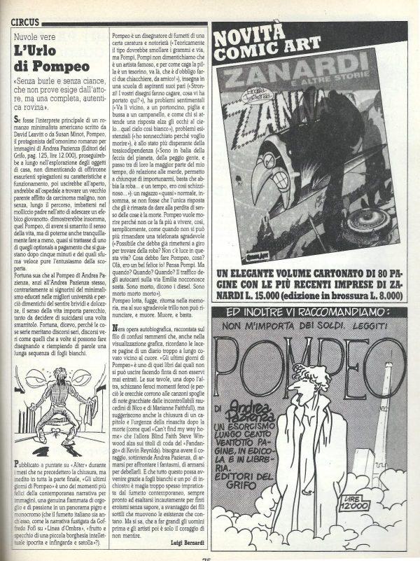 """L'articolo """"L'urlo di Pompeo"""" d a Circus-Nuvole vere (rivista Comic Art n. 40)"""