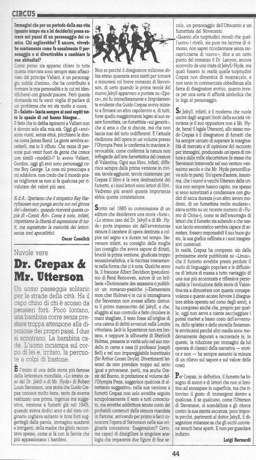 """Articolo """"DR. CREPAX & MR. UTTERSON"""", tratto dalla rivista Comi Art n. 41"""