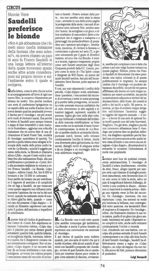 """Articolo """"SAUDELLI PREFERISCE LE BIONDE"""", tratto dalla rubrica Circus - Nuvole vere (Comic Art n. 43)"""