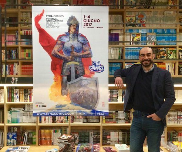 Foto del Manifesto di Etna Comics 2017, svelato ufficialmente questo pomeriggio all'Etna Comics Shop & Coffeehouse, pche orta la firma del grande fumettista bulgaro Alex Maleev