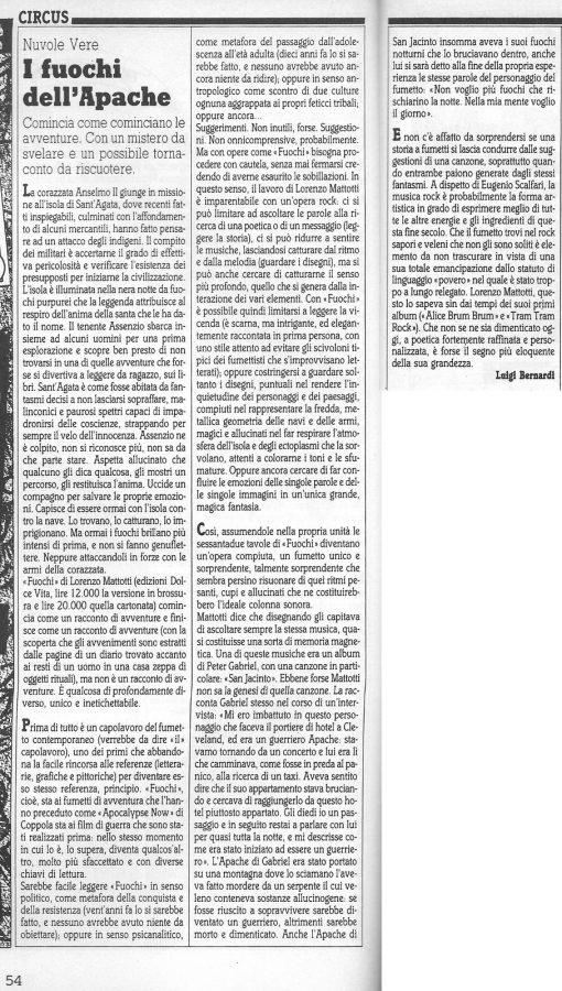 """Articolo  """"I FUOCHI DELL'APACHE """", tratto dalla rubrica Circus - Nuvole vere (Comic Art n.48)"""