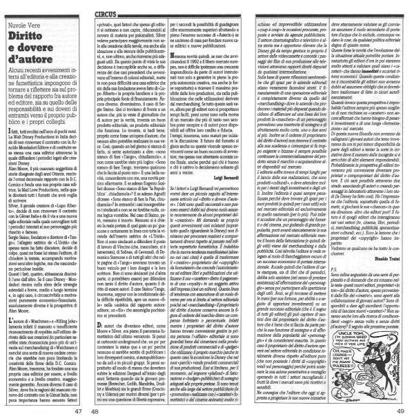 """Articolo """"DIRITTO E DOVERE D'AUTORE"""", tratto dal n. 49 della rivista Comic Art"""