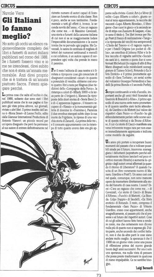 """Articolo """"GLI ITALIANI LO FANNO MEGLIO?""""  tratto dal n. 52 della rivista Comic Art"""