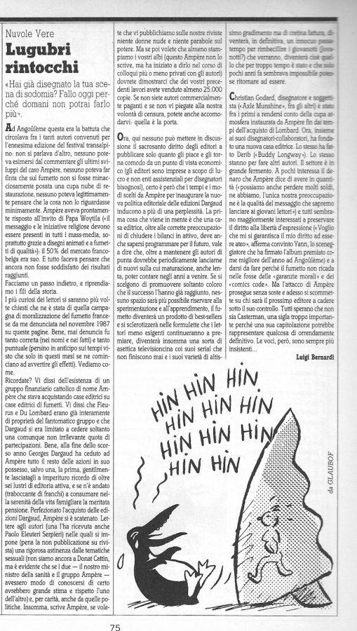 """Articolo """"LUGUBRI RINTOCCHI """", tratto dal n. 53 della rivista Comic Art"""