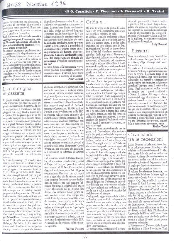 """Articolo """"GRIDA E ... SUSSURRI"""", estratto dal n. 28 della rivista Comic Art"""