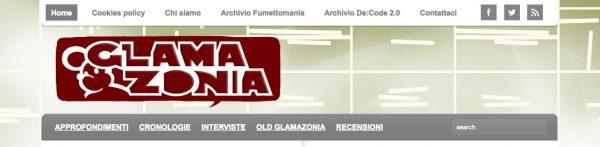 Testata del sito di archivio di Glamazonia, nel quale tra ottobre 2016 ed giugno 2019 abbiamo ri-pubblicato e dato visibilità a 550 articoli .