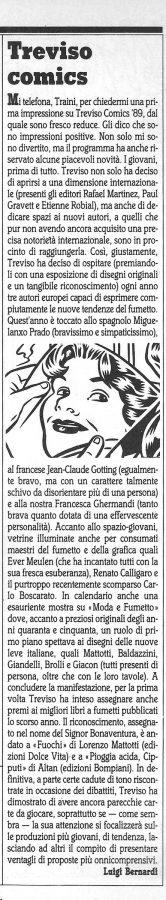 """Articolo """"TREVISO COMICS 1989 """", tratto dal n. 54 della rivista Comic Art"""