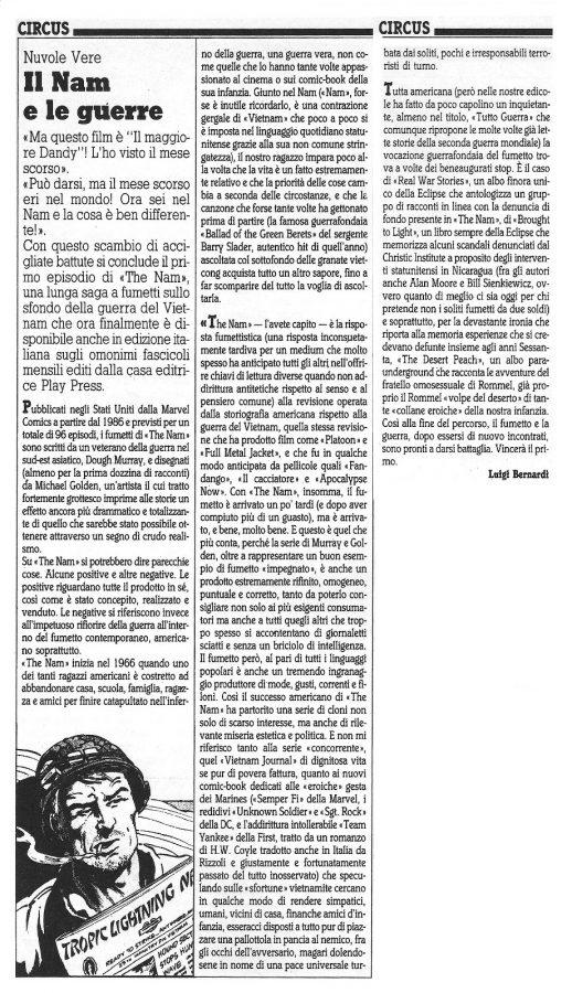 """Articolo """"IL NAM E LE GUERRE """", tratto dal n. 54 della rivista Comic Art"""