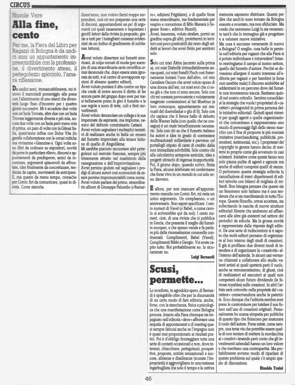 """Articolo """"ALLA FINE, CENTO """", tratto dal n. 55della rivista Comic Art"""