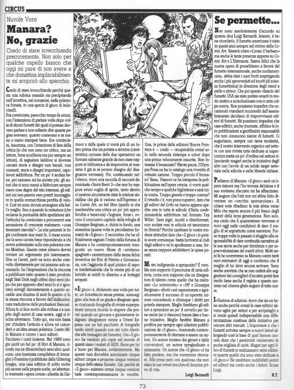 """Articolo"""" MANARA? NO, GRAZIE """"  tratto dal n. 57 della rivista Comic Art"""