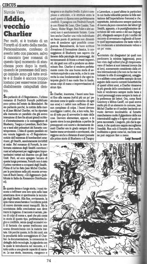 """Articolo """" ADDIO VECCHIO CHARLIER """"  tratto dal n. 60 della rivista Comic Art"""