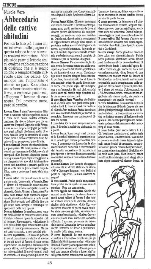 """Articolo """"ABBECEDARIO DELLE CATTIVE ABITUDINI"""" tratto dal n. 61 della rivista Comic Art - prima parte"""