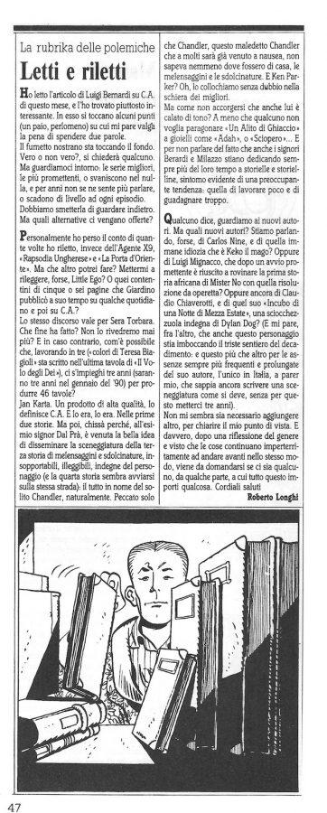 """Articolo """" LETTI E RILETTI """" tratto dal n. 61 della rivista Comic Art"""