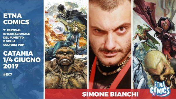 Banner promozionale di Etna Comics 2017 per Simone Bianchi