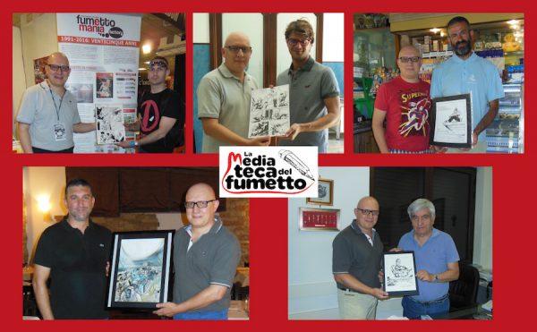 composizione fotografica con i 5 nuovi possessori di 5 opere a fumetti, per i loro sostegno al progetto della BIBLIOTECA DEL FUMETTO