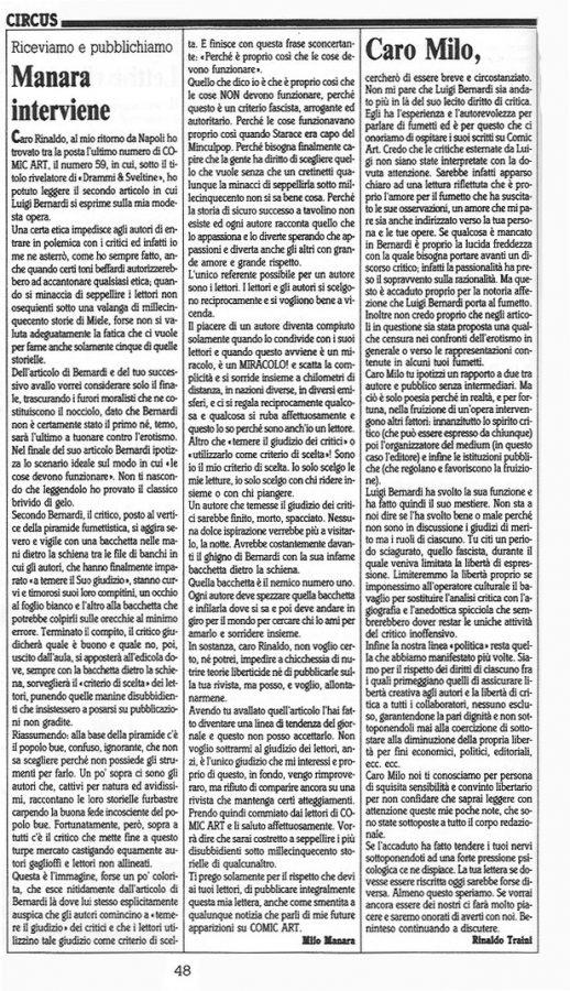 """Articolo """"MANARA INTERVIENE"""" ed l'intervento di Rinaldo Traini, tratto dal n. 61 della rivista Comic Art"""