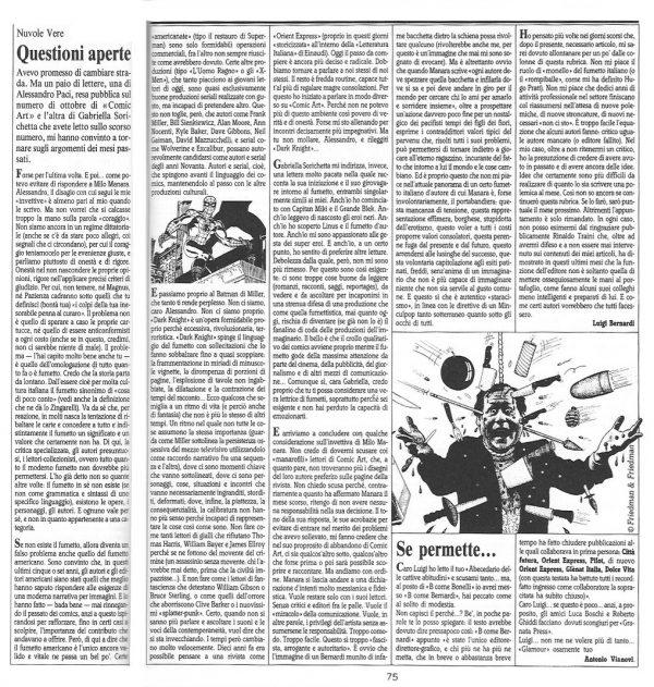 """Articolo """"QUESTIONI APERTE """" tratto dal n. 62 della rivista Comic Art"""