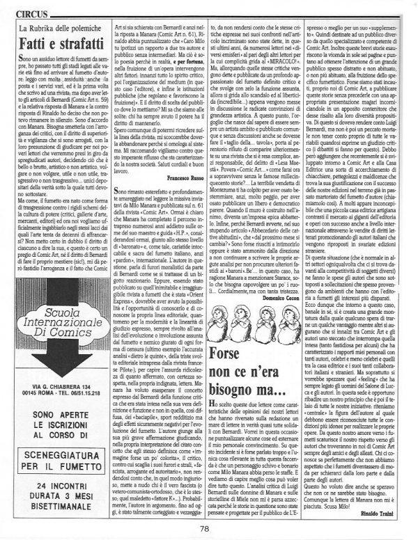 """Articolo """" FATTI E STRAFATTI """" tratto dal n. 63 della rivista Comic Art"""