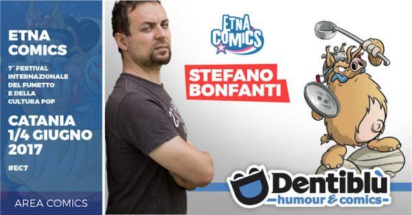 Banner di EtnaComics 2017 dedicato a Stefano Bonfanti