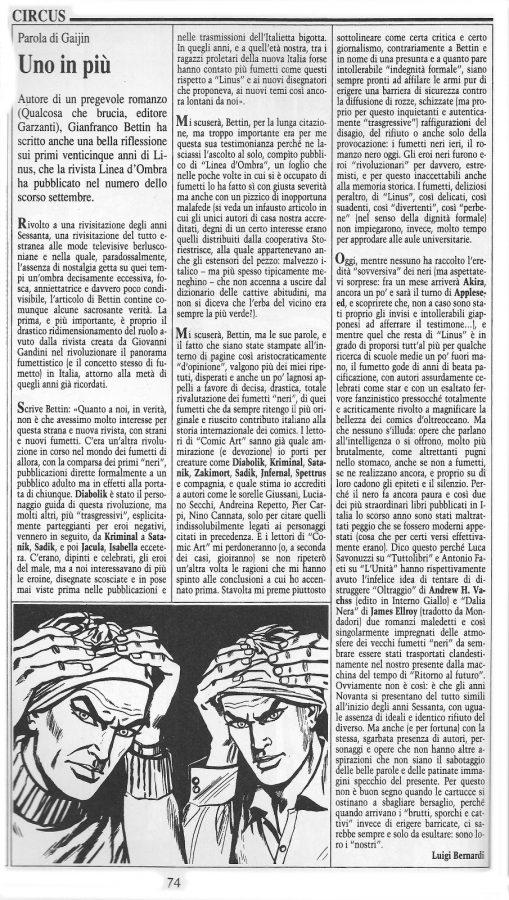 """Articolo """" UNO IN PIU'""""  tratto dal n. 64 della rivista Comic Art"""