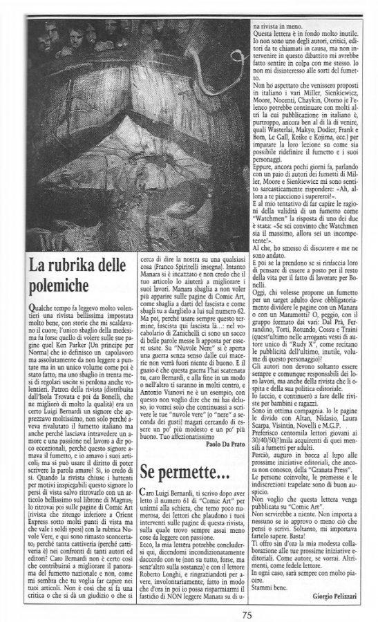 """Articolo """"LA RUBRIKA DELLE POLEMICHE""""  tratto dal n. 64 della rivista Comic Art"""