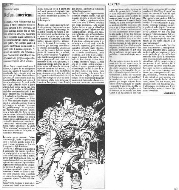 """Articolo """" REFUSI AMERICANI"""" tratto dal n. 65 della rivista Comic Art"""