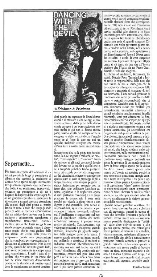 """Articolo """"Se permette ..."""", in contro intervento Riinaldo Traini,  tratto dal n. 66 della rivista Comic Art"""